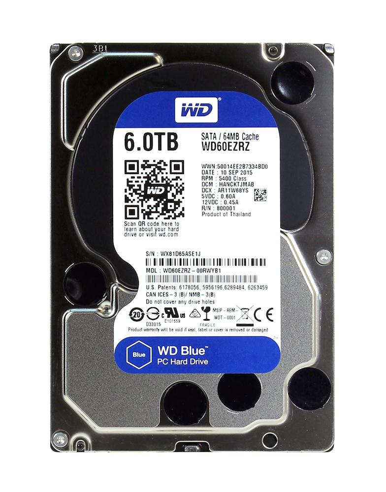 WD60EZRZ Western Digital Blue 6TB 5400RPM SATA 6Gbps 64MB Cache 3.5-inch Internal Hard Drive