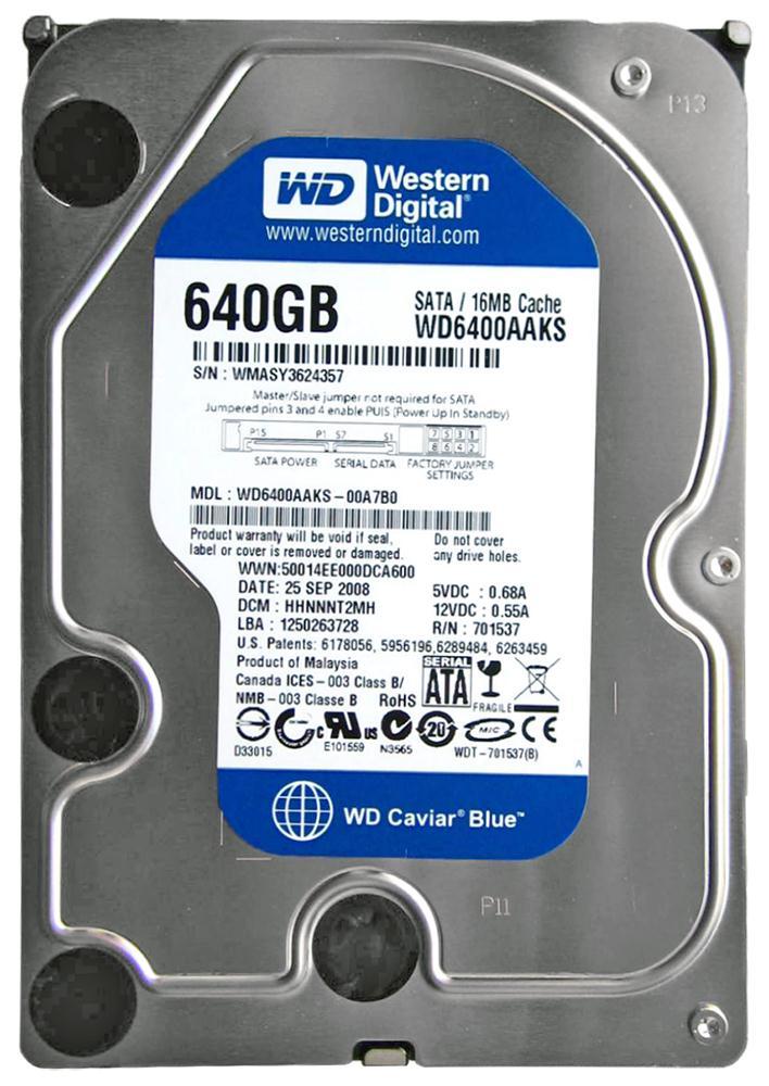 WD6400AAKS Western Digital Caviar 640GB SATA 3 0 Gbps Hard Drive