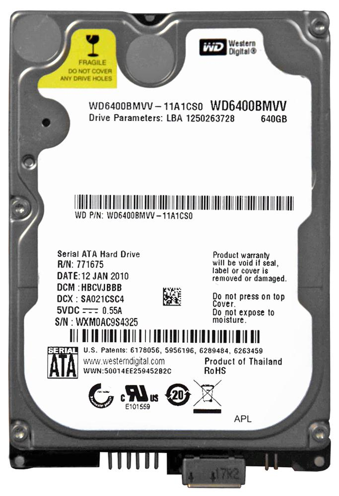 WD6400BMVV-11A1CS0 Western Digital 640GB 5400RPM USB 2.0 2.5-inch Internal Hard Drive