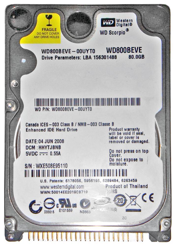 Western Digital Scorpio Blue 80GB 5400RPM ATA-100 8MB Cache 2.5-inch Internal Hard Drive Mfr P/N WD800BEVE