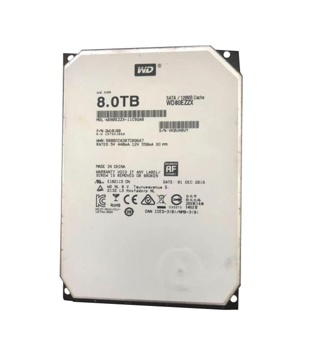 WD80EZZX Western Digital Red 8TB 5400RPM SATA 6Gbps 128MB Cache 3.5-inch Internal Hard Drive