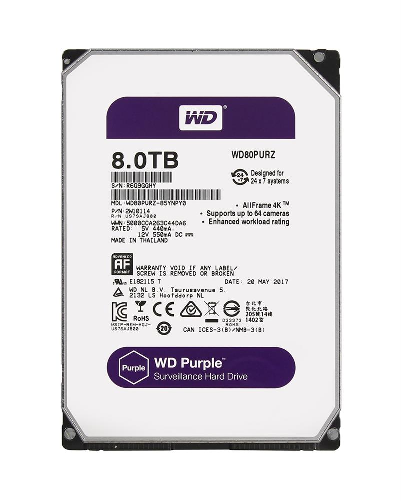 WD80PURZ-85YNPY0 Western Digital Purple Surveillance 8TB 5400RPM SATA 6Gbps 128MB Cache 3.5-inch Internal Hard Drive