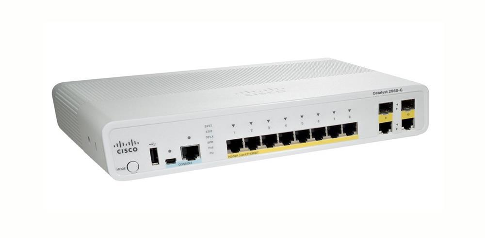WS-C2960C-8PC-L-DB Cisco Catalyst Switch 8-Ports 10/100/1000Base-T RJ-45 PoE Manageable Layer2 Switch with 2x Gigabit Ethernet Uplink Ports and 2x Shared SFP Slots (Refurbished)