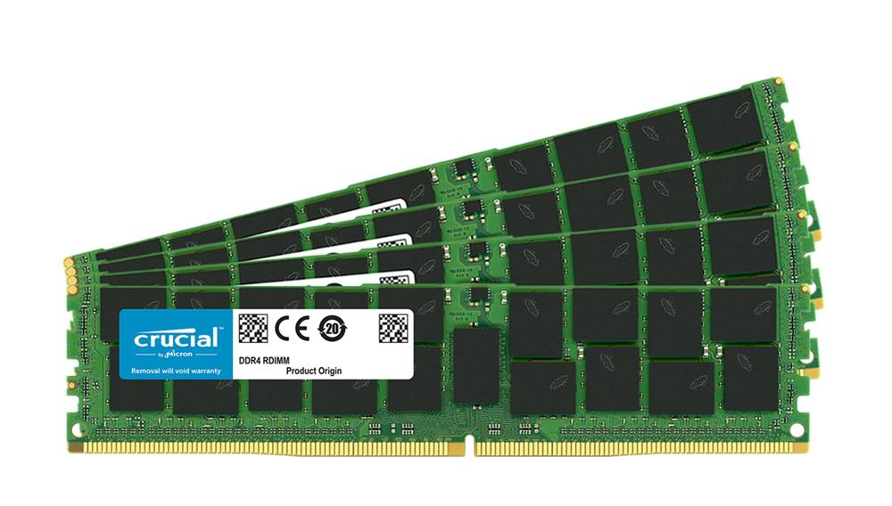 CT4K32G4RFD424A Crucial 128GB Kit (4 X 32GB) PC4-19200 DDR4-2400MHz ECC Registered CL17 288-Pin DIMM 1.2V Dual Rank Memory