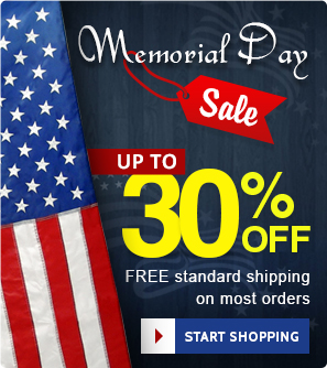 Memorial Day Discount on all orders plus standard free shipping