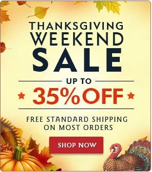 Thanksgiving Weekend Discount on all orders plus standard free shipping